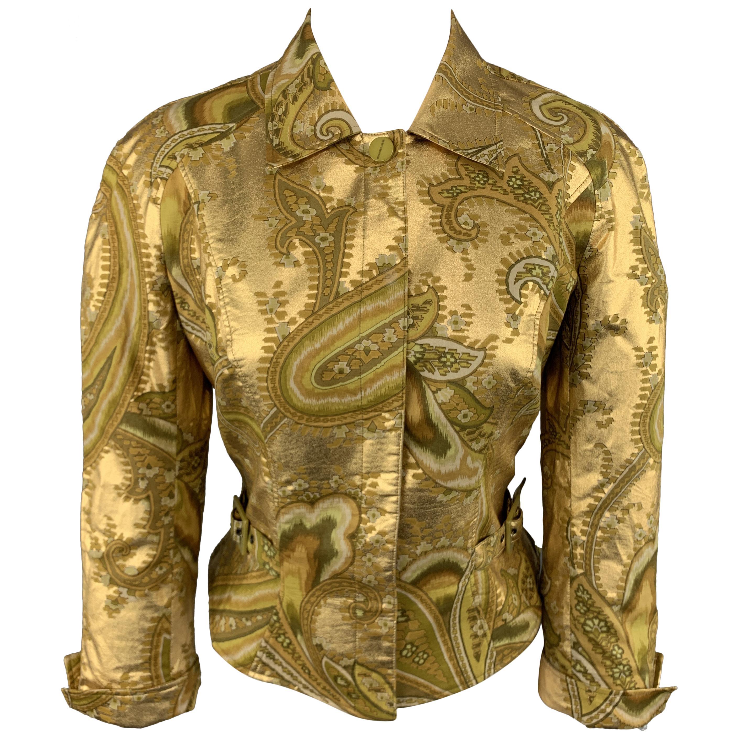 MUGLER Size 4 Metallic Gold & Green Paisley Cropped Jacket