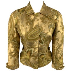 MUGLER Size 4 Metallic Gold & Green Paisley Cropped Jacket