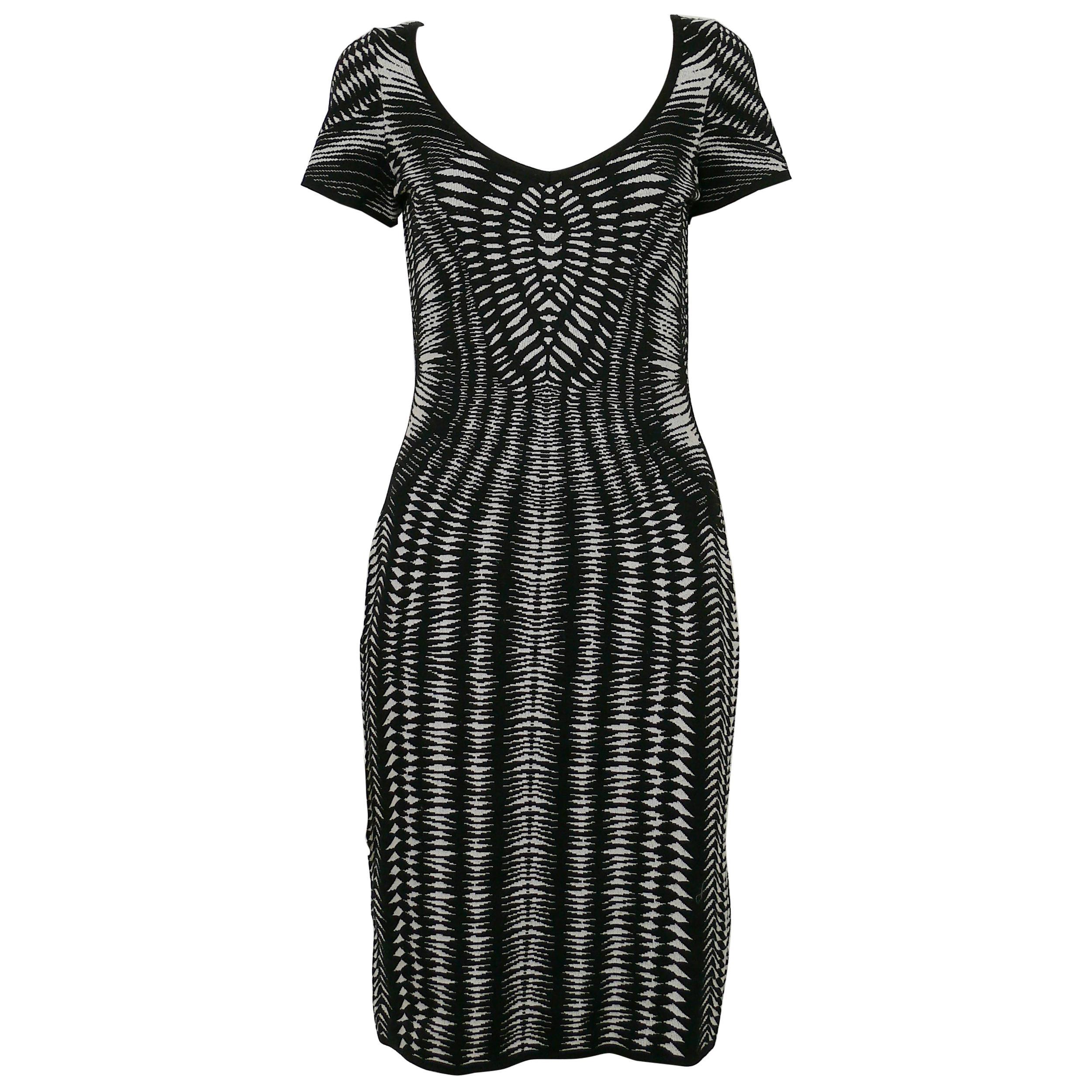Mugler Vintage Black & White Kinetic Knitted Dress
