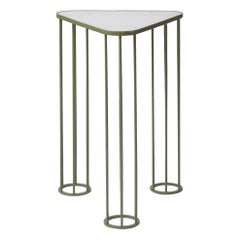 Muhly Outdoor Side Table in Sage Powdercoat with Cool White Glass