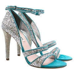 Mui Mui Silver Glitter Turquoise Leather Sandals SIZE 39