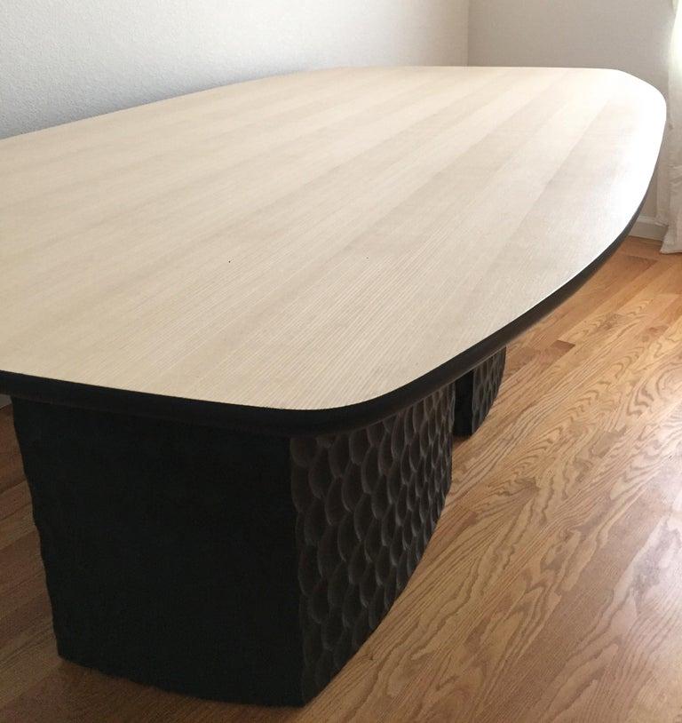 Sculptural Muir Dining Table White Ash Veneer Top And