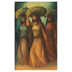 """Mujeres Vendedoras,"" Oil on Board by Rosendo Soto"