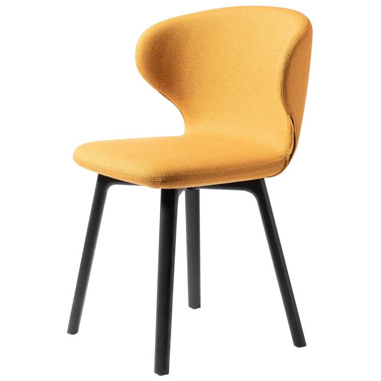 For Sale: Yellow (Kvadrat Melange Nap_461) Mula Chair in Stained Black Ash Base, Upholstery Seat, by E-GGs