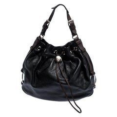 Mulberry Black/Brown Pebbled Leather Drawstring Hobo