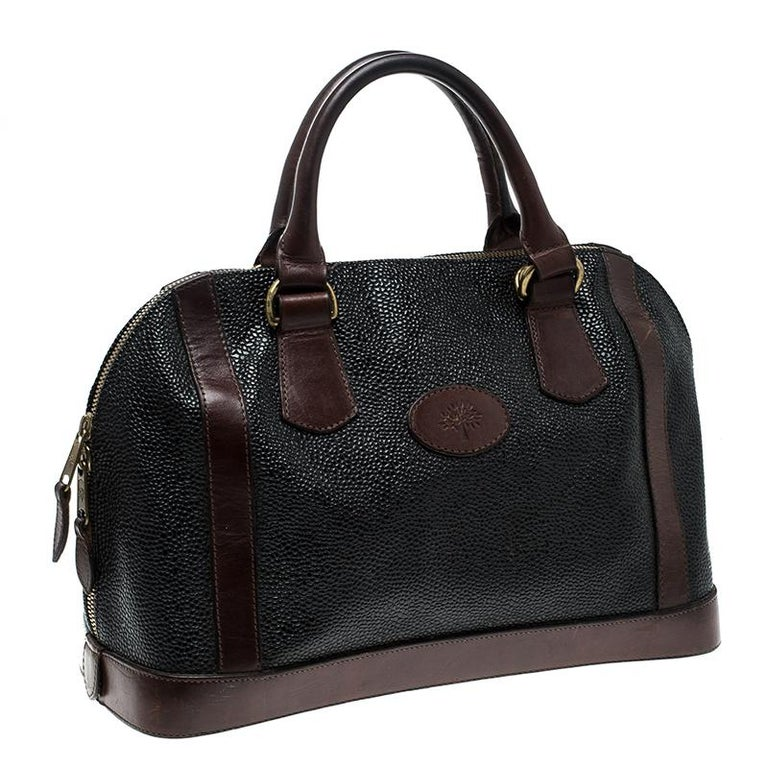 Mulberry Black Brown Scotchgrain Leather Vintage Satchel In Good Condition  For Sale In Dubai 8b1a491ffdc66