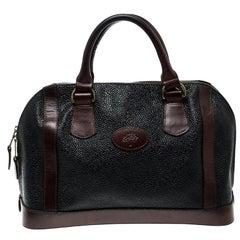 Mulberry Black/Brown Scotchgrain Leather Vintage Satchel