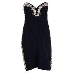 MULBERRY black CRYSTAL EMBELLISHED STRAPLESS COCKTAIL Dress 10 S $5k