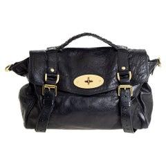 Mulberry Black Leather Alexa Satchel