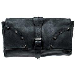 Mulberry Black Leather Push Lock Clutch
