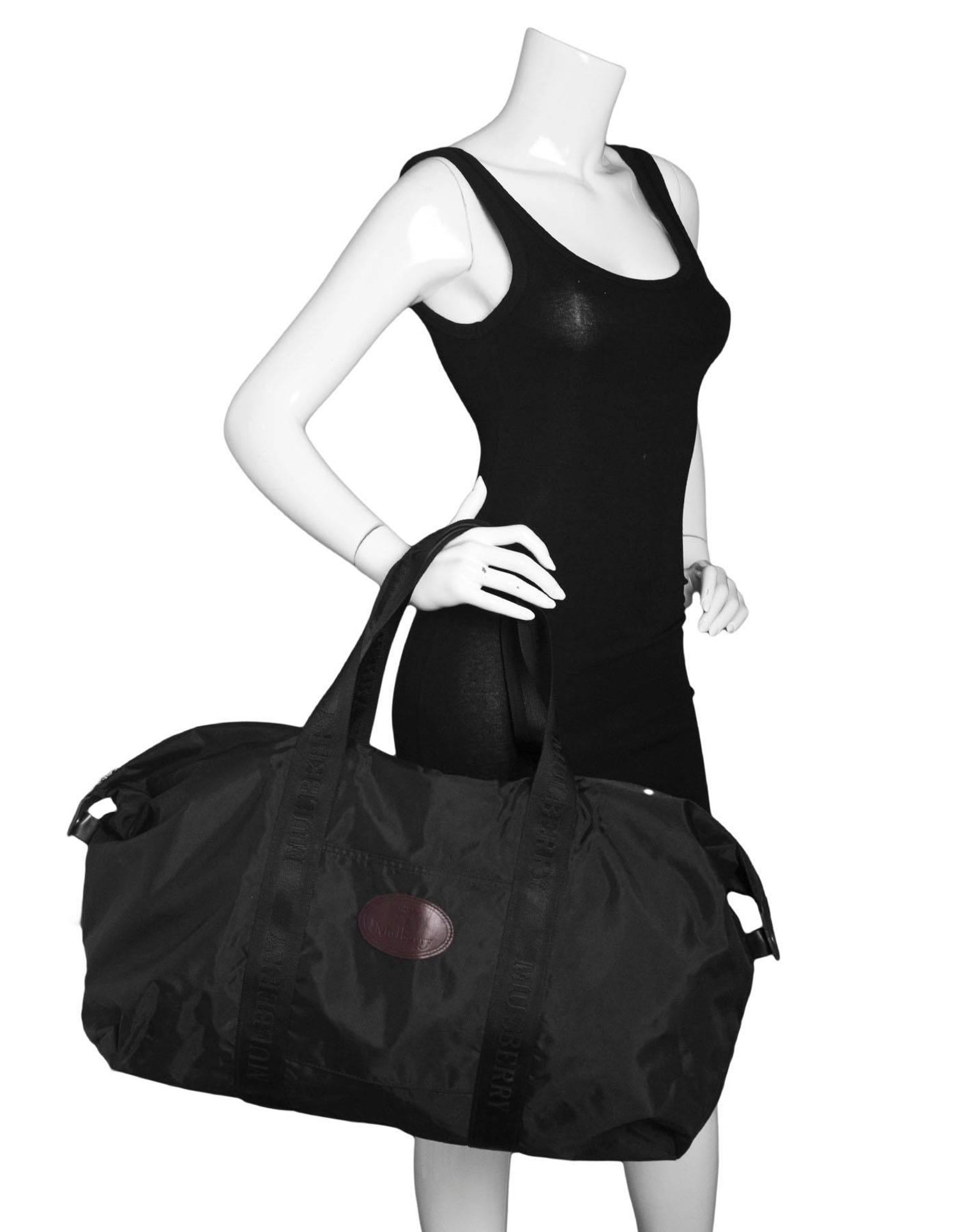 Mulberry Black Nylon Duffle Travel Bag For Sale at 1stdibs d13bfedf5c11f