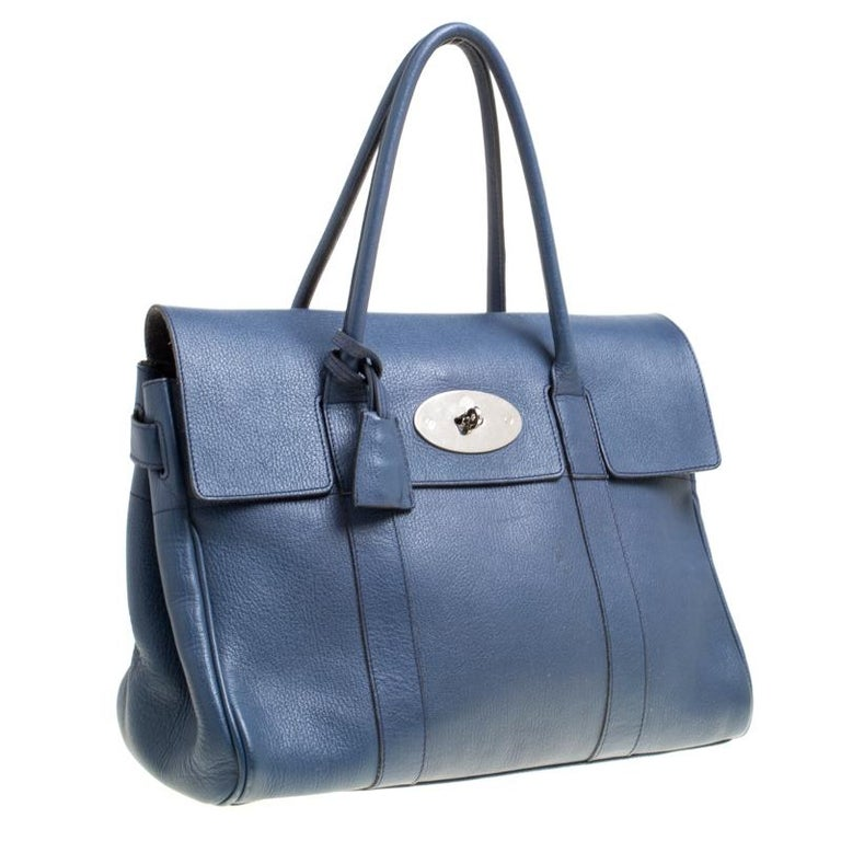 4dcafbc6e8 Mulberry Blue Leather Bayswater Satchel In Good Condition For Sale In  Dubai, Al Qouz 2