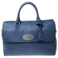 Mulberry Blue Leather Medium Del Rey Satchel