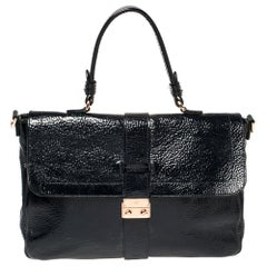Mulberry Blue Patent Leather Harriet Top Handle Bag