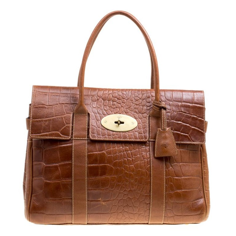 7b77248935f9 Mulberry Brown Croc Embossed Leather Bayswater Satchel For Sale at 1stdibs