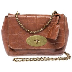 Mulberry Brown Croc Embossed Leather Small Lily Shoulder Bag