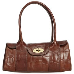 Mulberry Brown Embossed Leather Bayswater