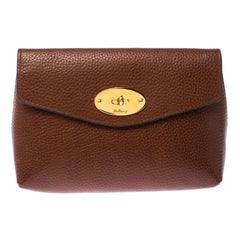 Mulberry Brown Leather Cosmetic Pouch