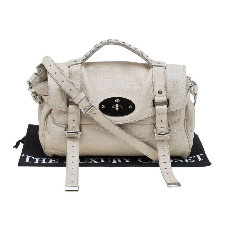 e77a38b23b Mulberry Cream Croc Embossed Leather Limited Edition Alexa Shoulder Bag For  Sale 7