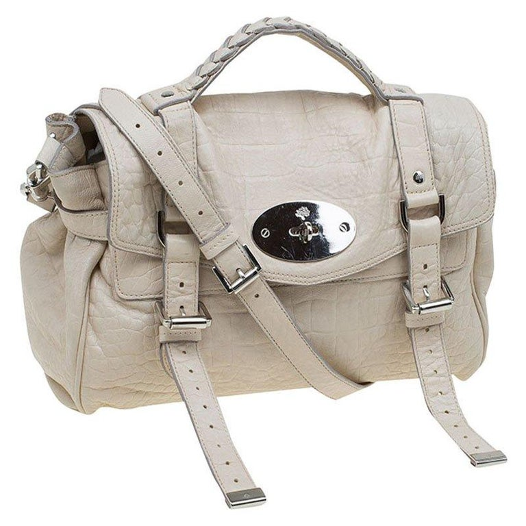 aae93b7fbe Beige Mulberry Cream Croc Embossed Leather Limited Edition Alexa Shoulder  Bag For Sale