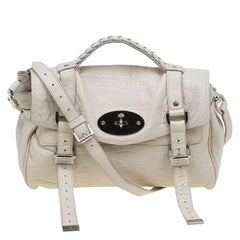 Mulberry Cream Croc Embossed Leather Limited Edition Alexa Shoulder Bag