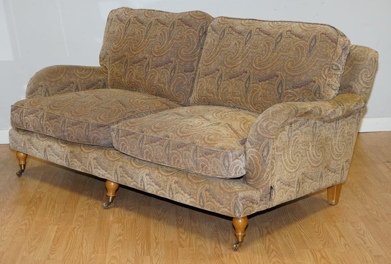 Fabric Mulberry Designer Made To Order Feather Filled Howard Manner Sofa For Sale
