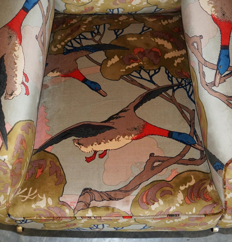 Mulberry Flying Ducks Upholstered Restored Pair of Victorian Club Armchairs 3