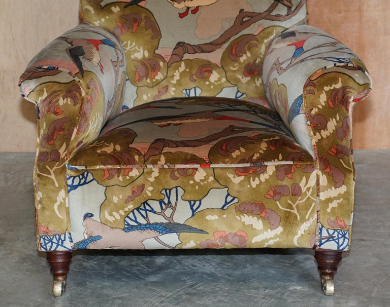 Mulberry Flying Ducks Upholstered Restored Pair of Victorian Club Armchairs 4
