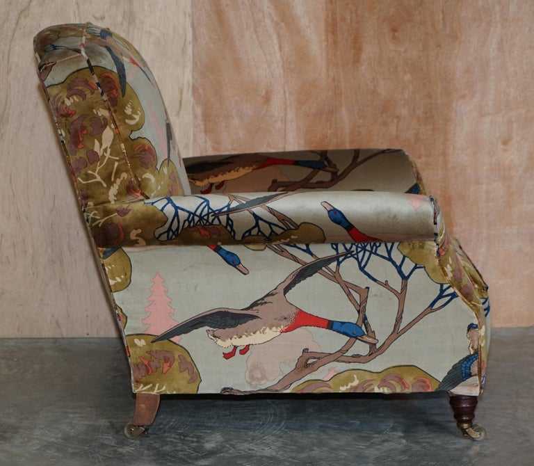 Mulberry Flying Ducks Upholstered Restored Pair of Victorian Club Armchairs 7