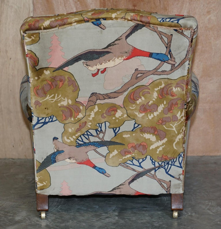 Mulberry Flying Ducks Upholstered Restored Pair of Victorian Club Armchairs 10