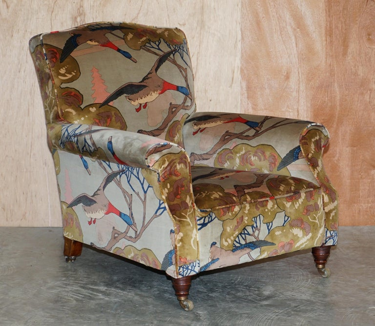 We are delighted to offer for sale this extremely fine pair of fully restored Victorian club armchairs upholstered with Mulberry Flying ducks velvet upholstery  These chairs are wonderfully English! They are circa 1860, with coil sprung bases,