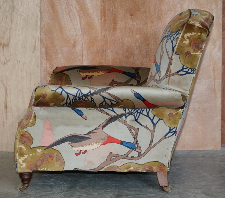 Mulberry Flying Ducks Upholstered Restored Pair of Victorian Club Armchairs 12