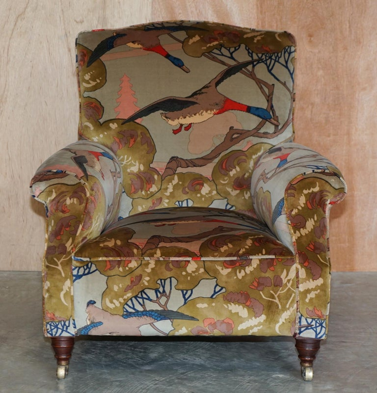 High Victorian Mulberry Flying Ducks Upholstered Restored Pair of Victorian Club Armchairs