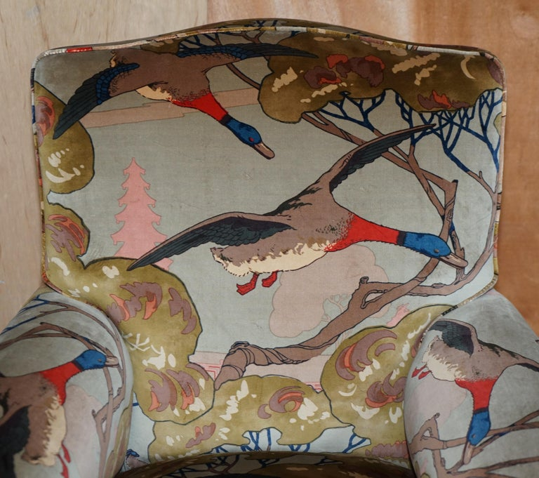 English Mulberry Flying Ducks Upholstered Restored Pair of Victorian Club Armchairs