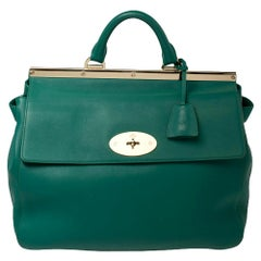Mulberry Green Leather Suffolk Top Handle Bag