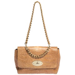 Mulberry Light Brown Croc Embossed Leather Lily Top Handle Bag