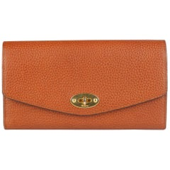 Mulberry Light Brown Oak Leather Darley Continental Flap Wallet