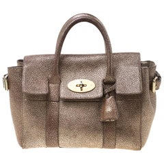 Mulberry Metallic Gold Grain Leather Small Heritage Bayswater Satchel