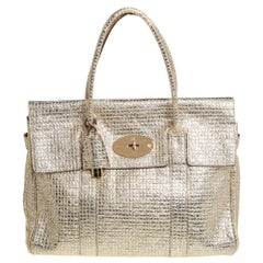 Mulberry Metallic Gold Textured Leather Bayswater Satchel