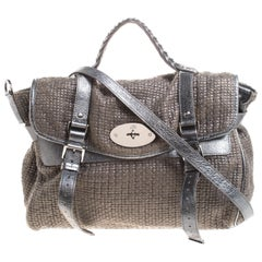 Mulberry Metallic Woven Fabric and Leather Alexa Top Handle Bag