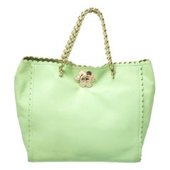 Mulberry Mint Green Leather Flower Cecily Tote