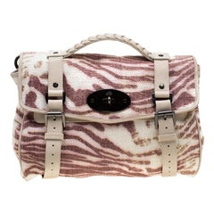 Mulberry Multicolor Trippy Tiger Raffia and Leather Alexa Satchel