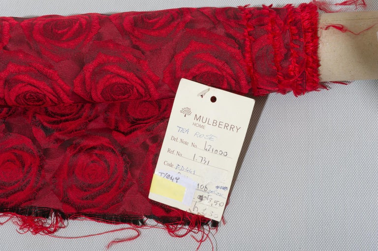 Other Mulberry Silk Red Roses Drapery Fabric For Sale