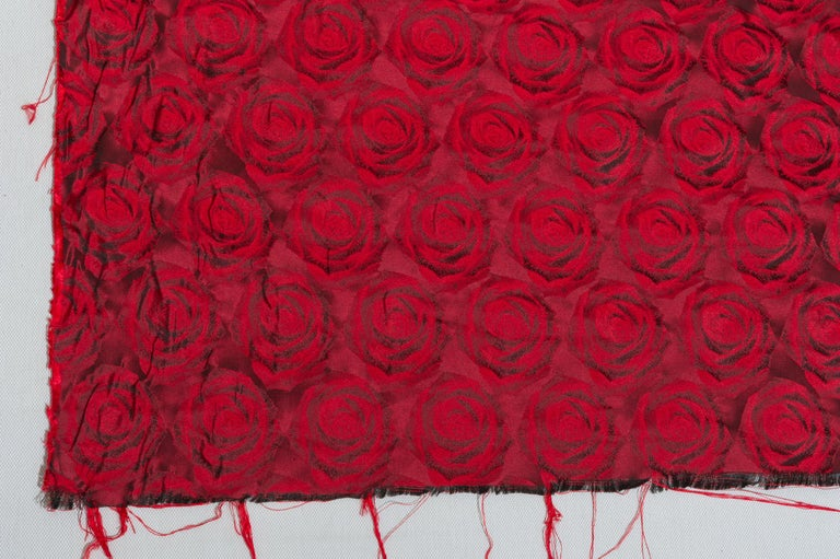English Mulberry Silk Red Roses Drapery Fabric For Sale