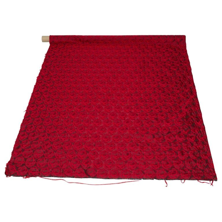 Mulberry Silk Red Roses Drapery Fabric For Sale