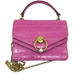 Mulberry Small Harlow Satchel - Moc Croc - Pink -As New