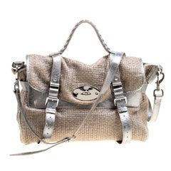 Mulberry Sparkle Grey Woven Fabric Alexa Top Handle Shoulder Bag