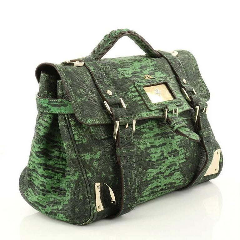 9141cd92be Black Mulberry Travel Day Bag Lizard Print Leather Medium For Sale