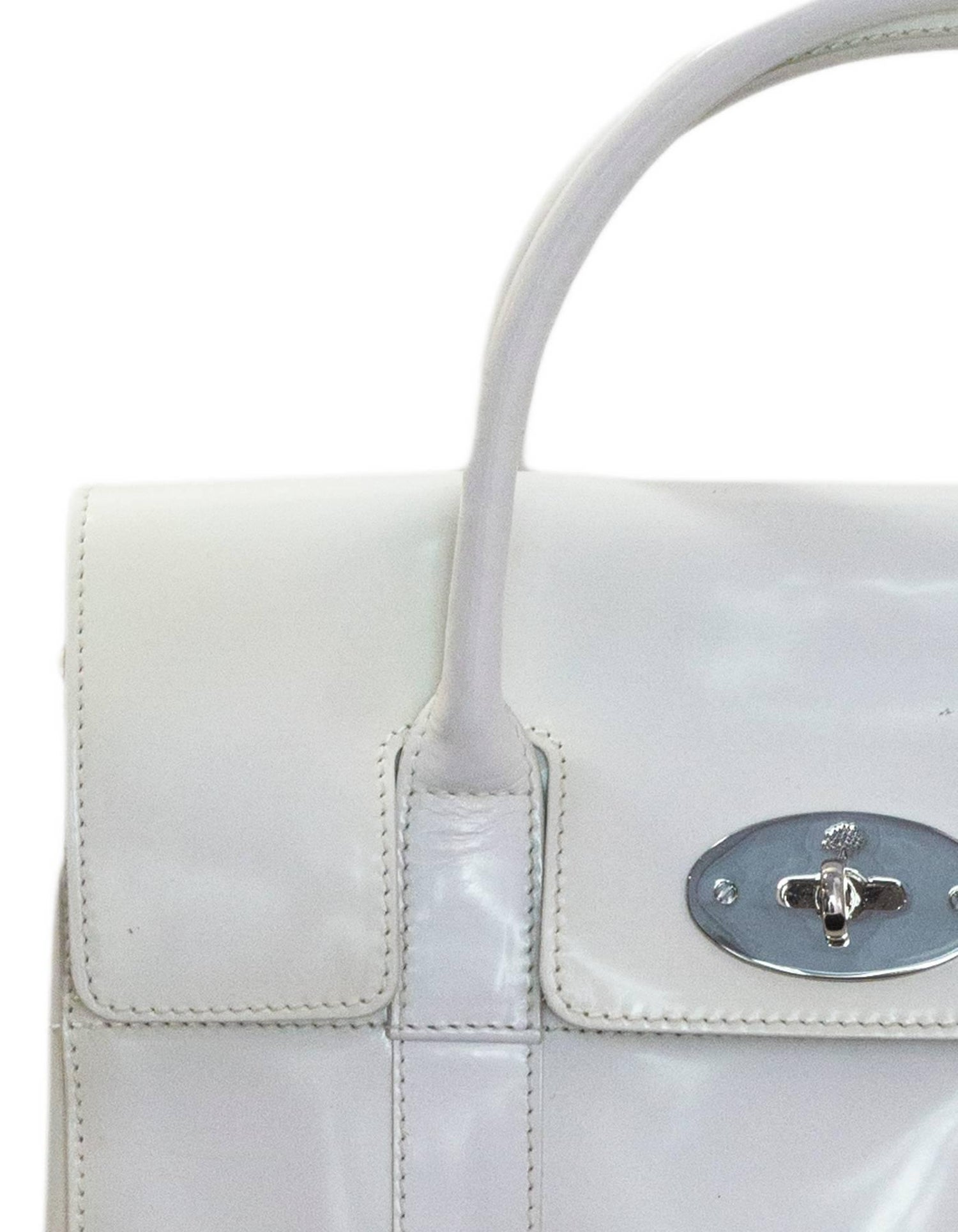 190cc65de5 Mulberry White Patent Leather Small Bayswater Bag with Dust Bag at 1stdibs