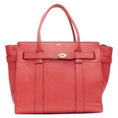MULBERRY Zipped Bayswater red pebble leather gold buckle strap leather tote bag